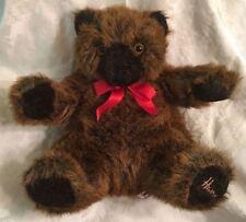 "Harrods Knightsbridge Brown Teddy Bear Plush Red Bow Collectible Rare 14"""