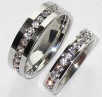 Mens WOMENS SIMULATED DIAMONDS 4mm OR 6MM WEDDING RING BAND STR213 CHANNEL SET