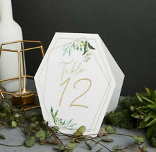 GEOMETRIC DESIGN TABLE NUMBERS 1 TO 12 WHITE GOLD LETTERING WEDDING PARTY