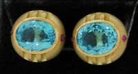 Heavy 18K yellow gold 26.40CT Blue topaz & ruby clip-on earrings