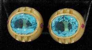 Heavy 18K yellow gold 26.40CT Blue topaz & ruby clip-on earrings