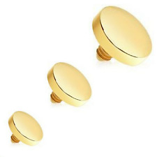 3PC LOT 3MM 4MM 5MM 14G FLAT DISC GOLD PLATED STEEL MICRO DERMAL ANCHOR TOP HEAD
