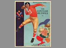 WASHINGTON STATE COUGARS Homecoming 1937 Vintage Program Cover POSTER