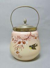 (G752) Jugendstil Glas Keksdose in rose, Vogel und Blumenmalerei, um 1900