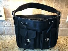 Marc Jacobs Black Canvas & Cotton Shoulder Bag/Tote 12x10x5 EUC