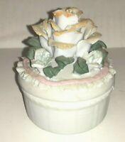 Vintage Bisque Porcelain Rose Ring Dish