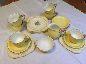 Royal Winton Grimwades Yellow Tiger Lily Coffee Set