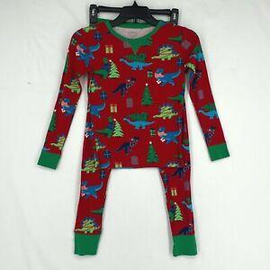 Wondershop Kids Sz 10 Two Piece Pajamas Set Red Dinosaur Christmas Print Cotton