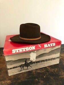 Vintage STETSON Brown BILLY KIDD Cowboy WESTERN HAT Size 7 1/2 w/ Box 4X BEAVER