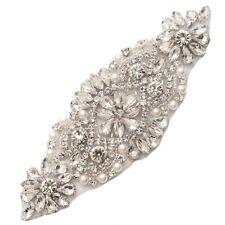"Crystal Rhinestone Applique Silver Beaded White Pearls Bridal Patch 5.25"" GB620"