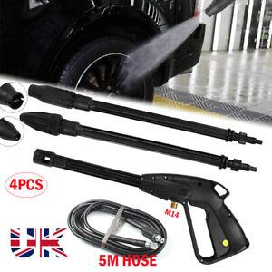 UK High Pressure Power Washer Spray Gun Jet Lance Trigger Wash Wand &5M Hose kit