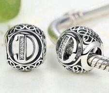 hot letters D European Silver CZ Charm Beads Fit sterling 925 Bracelet Chain T3