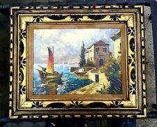 Italian Artist MACRONI oil on canvas vintage painting SEASCAPE WITH BOATS