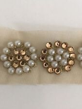 ATTRACTIVE INDIAN ROSEGOLD CIRCLES WITH PEARLS/CRYSTALS ON NET LACE/TRIM-ONE MTR