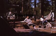 KODACHROME 35mm Slide Handsome Men Camping Old Car Tent Trees Fire Pit 1963!!!