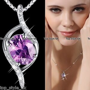 925 Sterling Silver Purple Amethyst Pendant Necklace Christmas Xmas Gift for her