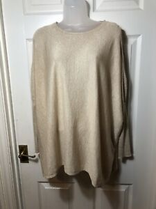 Ladies' PAPILLONNE Knit Effect Gold Beige Jumper Cut Out Sleeve  Size Large BNWT
