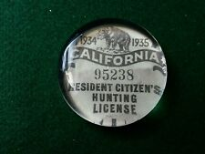 Vintage Style 1934 California Hunting License Glass Paperweight by Artist