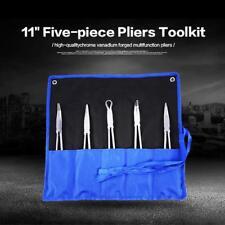 5Pcs 11'' Extra-Long Nose Pliers Set Straight Bent Mechanic Equipment Hose Tool