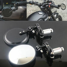 """Universal Motorcycle 7/8"""" Handle Bar End Rearview Side Round Mirrors 2 Pcs Black"""