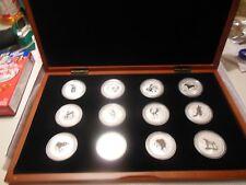 1999-2010 AUSTRALIA .999 SILVER LUNAR SET OF 12 COINS 1OZ W/Pres. Wooden Box