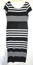New Look Black White Stretchy Dress Size 14 Petite Pencil Straight Calf Length