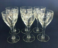 6 vintage Mid-Century Modern clear etched sherry or cordial glasses 1950s 1960s