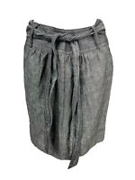 Banana Republic Women's Size 2 Linen Chambray Skirt Black Belted Lined Pockets