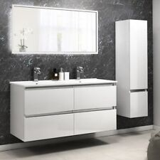 Cloakroom 1200mm Pemberton white wall hung vanity drawer unit with double sink