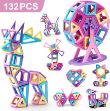 AmyBenton Mini Castle Magnetic Building Blocks 132Pcs for Kids Babies and Toddl