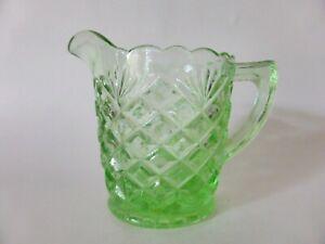 Green Depression Glass Creamer, Waffle & Fan Pattern, Vintage Milk Jug, Art Deco