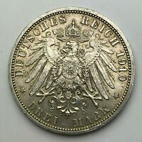 Dated : 1910 A - Silver Coin - Germany - 3 Mark - Prussia - Wilhelm II