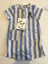 Bobo Choses One Piece Baby 3/6 months Blue White Stripe BNWT Romper 100% Cotton