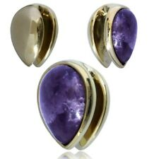"PAIR 5/8"" INCH AMETHYST BRASS DROP EAR WEIGHTS PLUGS TUNNELS STRETCH GAUGE HOOPS"