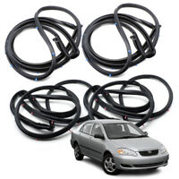 Set Front Rear Door Seal Rubber Weatherstrip Black For Toyota Corolla 2003 2007