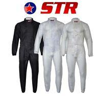 STR Adults Waterproof Wet Weather Driving Rain Suit Circuit Racing Go Kart Black