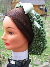 Civil War Dress Victorian Accessories Lady'S Deep Sage Cotton Crochet Snood~Net