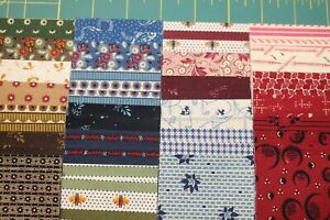 """(50) REPRODUCTION 2.5x22"""" COTTON STRIPS QUILT FABRIC BY MARCUS FABRICS"""