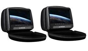 "PAREJA DE REPOSACABEZAS NEGROS LCD 9"" TACTIL CON DVD HDMI USB SD ALTAVOCES FUNDA"