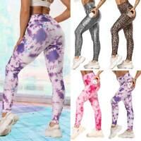 Womens Sports Yoga Pants Pocket Leggings Workout Fitness Gym Stretch Trousers O4