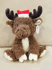 "Fiesta Toys 11"" Sitting Moose with Christmas Stocking Hat"