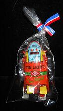 NEW 1993 Atomic Mr Robot Tin Light BIC lighter and Tin Litho Sleeve ~ ORANGE