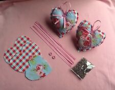 Cath Kidston Blue Rose 2 Fabric Hanging Hearts With Scented Lavender Sewing Kit