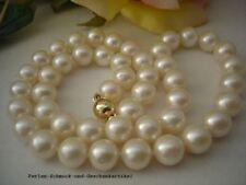 Echte Perlenkette Weiß Rund 9,4mm / 45cm, 14Kt. / 585er Gold Handarbeit Geknotet
