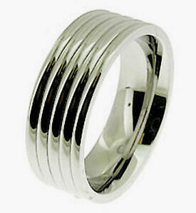 POLISHED STAINLESS STEEL RIBBED 8mm WIDE BAND RING THUMB FINGER WEDDING