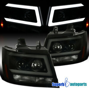 For 2007-2013 Avalanche 07-14 Tahoe Suburban Projector Black Smoke Headlights