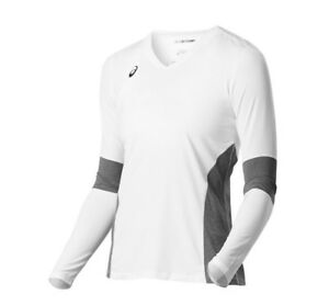 ASICS Women's Volleyball Decoy Long sleeve, White/Heather Grey, Size 2XL