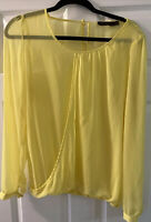 The Limited Women's Yellow Sheer Long Sleeve Blouse Size L (Pre-owned)