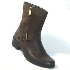 Anne Klein NEW Suede Leather Boot Bootie Aklino Women 9.5 Brown Ankle Low Heel