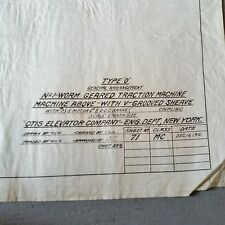 Antique BLUEPRINT Otis Elevator, Gear Motor Electric Engineering Machine #71